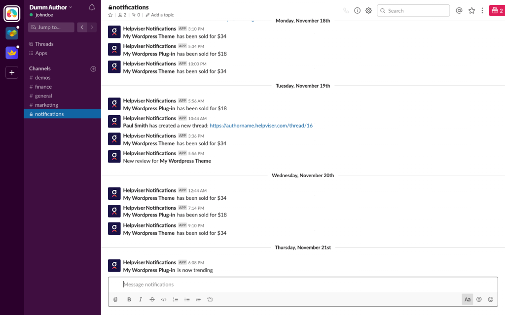 codecanyon slack notifications